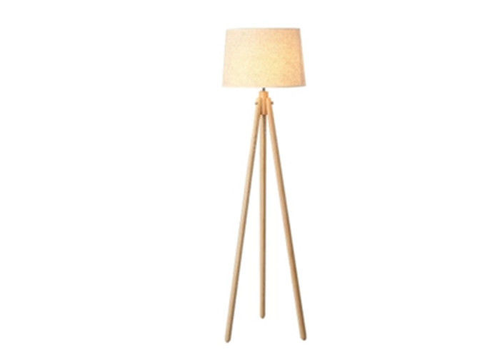 9W Tall Wooden Tripod Floor Lamp With Remote Floor Polished Chrome Finish